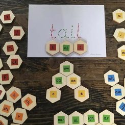 Eco friendly, wooden Letters and Sounds blending hexagons