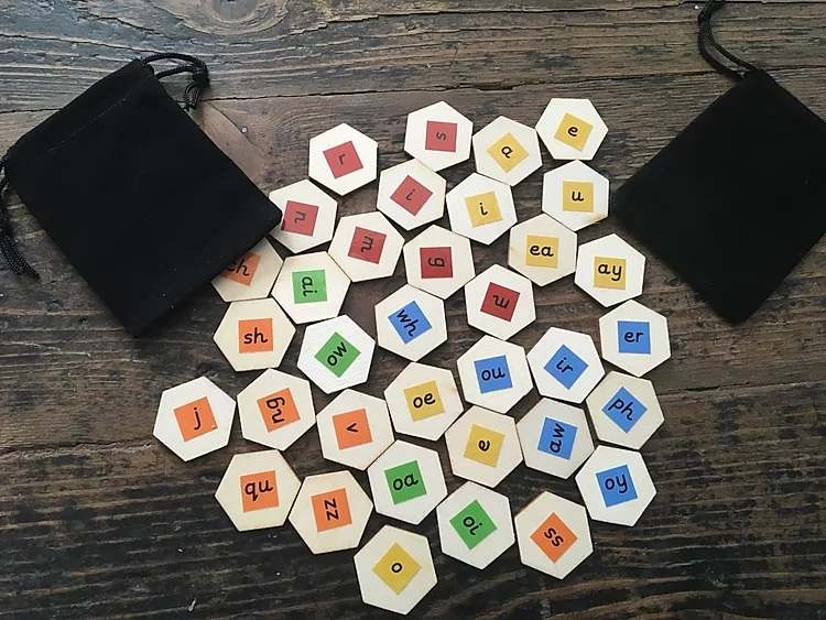 Eco friendly, wooden Letters and Sounds blending hexagons - Gallery 1