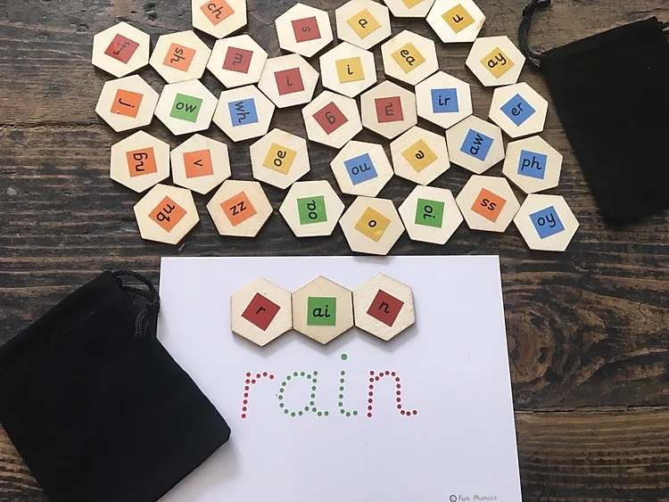 Eco friendly, wooden Letters and Sounds blending hexagons - Gallery 2