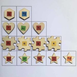 Environmentally friendly, colour coded phonics tiles for word building
