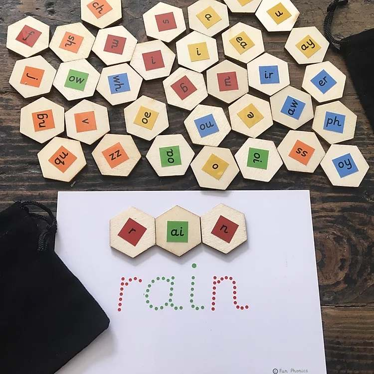 Environmentally friendly, colour coded phonics tiles for word building - Gallery 4