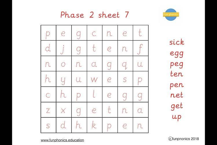 PRE CURSIVE Phase 2 word searches PDF (digital file) - Gallery 1