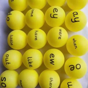 Phase 5a phonic Ping Ping balls and common exception words