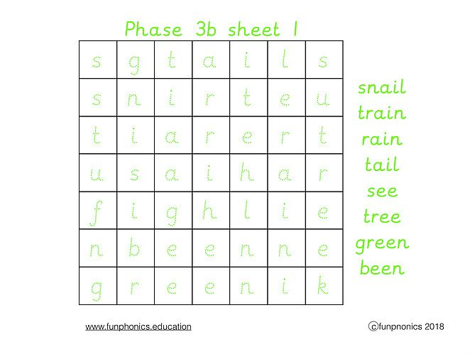 Phases 3a and 3b word searches
