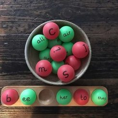 Phonics ping pong ball stand!