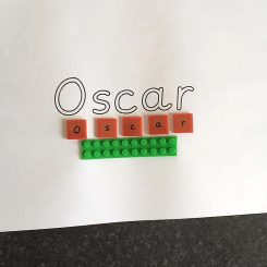 Upper case letters for personalised name building and writing resource