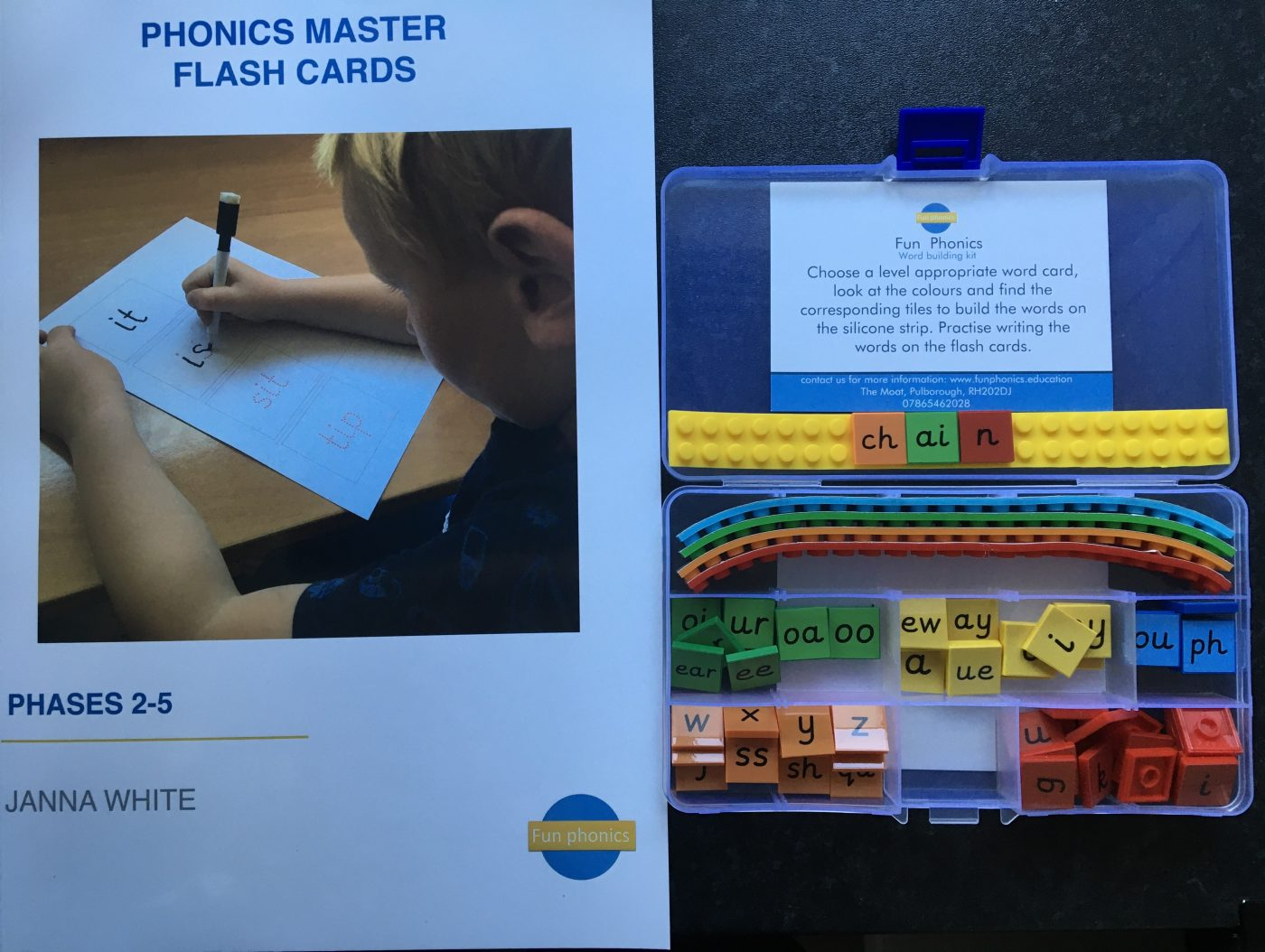 Phonics and blending kit and supporting flash card book